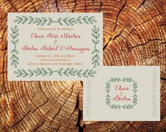 Simple Earth Tone Wreath Wedding Invite