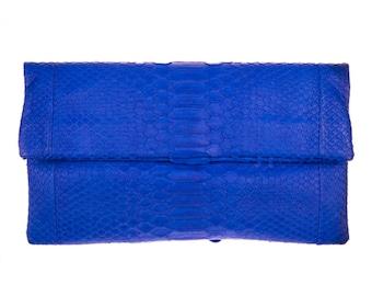 Python Clutch, Blue Python Clutch, Snakeskin Clutch, Blue Leather Clutch, Blue Evening Bag, Blue Leather Bag, Snakeskin Purse, Small Handbag
