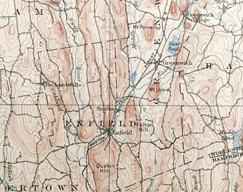 Enfield Map Etsy - Ware massachusetts us map