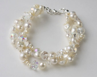 Multi strand bracelet made with Swarovski crystals and freshwater pearls