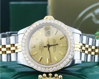 Rolex Datejust Ladies 2-Tone Gold/Steel 26MM Watch with Custom Diamond Bezel