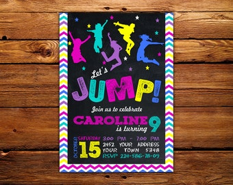 Jump Birthday Invitation Jump Invitation. Trampoline party invitation. Trampoline birthday invitation. Bounce house invitation.