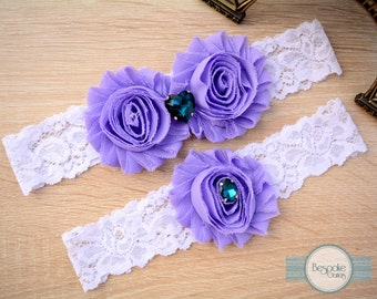 Vintage Wedding Garter Set of White Lace & Teal Rhinestones, Vintage Garter, Vintage Bridal Garter, Purple Wedding Garter, Purple Garter