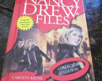 Nancy Drew Files- Carolyn Keene 3 mysteries- The Wrong Chemistry- Out of Bounds- Flirting With Danger- Collectors Edition!