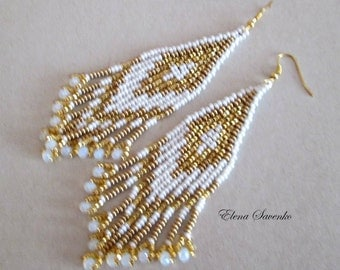 Bead Earrings Native American Style Beadwork  Seed Bead Earrings.Серьги из бисера.Белые.