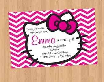 Hello Kitty Pink Chevron invitation