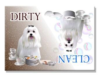 Maltese Clean Dirty Dishwasher Magnet