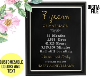 7 Years Wedding Anniversary Gift 7th Anniversary PRINTABLE Digital File Personalized, Gift for Couples, 7th Anniversary Chalkboard