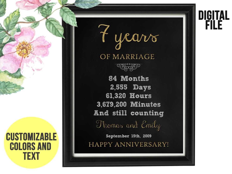 7 Year Wedding Anniversary Gifts: 7 Years Wedding Anniversary Gift 7th Anniversary PRINTABLE