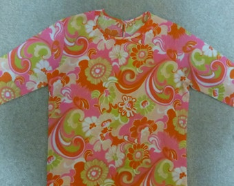 Vintage Mod 1960s pink yellow flower long sleeve top