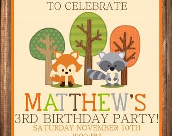 Woodland Birthday Party Printable Invitation
