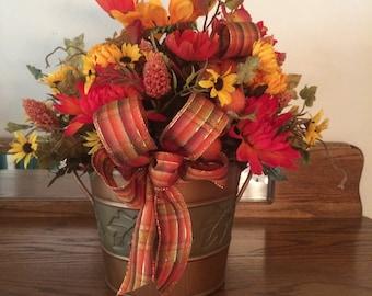 Fall Silk Flower Arrangement in Bucket,  Silk Flower Arrangement,  Home Decor