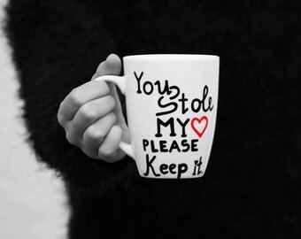 Big Handpainted Mug, Big White Coffee Mug, Coffee Mug, White Coffee Mug, Coffee Mug for Friend, Love Mug, Big Tea Mug - You Stole My Heart