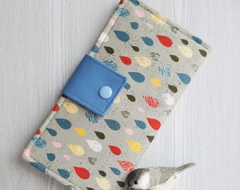 Raindrop print Women's bifold wallet, slim clutch wallet, handmade fabric cash wallet, womans credit card wallet, checkbook wallet