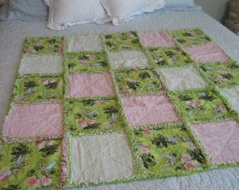 Tinkerbell Rag Quilt /Baby Rag Quilt / Child Rag Quilt / Pink Green Rag Quilt