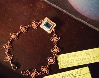 "Handmade Blue Topaz and Copper Link 8"" Bracelet"