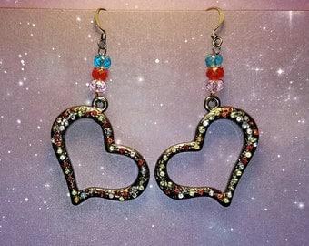 Swarovski and Austrian crystal heart earrings