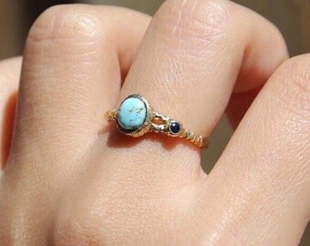 9 k turquoise deep sapphire gold ring