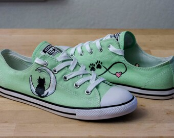 Converse All-Star Cat Sitting On Moon Shoes- Hand Painted