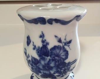 Vintage blue and white porcelain toothbrush holder