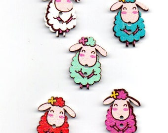 Sheep wooden buttons flatback with 2 holes