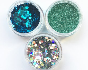 Mermaid Blues Face Body Glitter Combo 3 Pack Holographic Festival Sparkle Pots