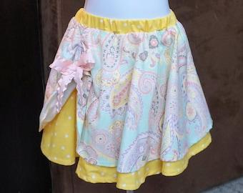 Colorful Paisley 2 Layer Circle Skirt