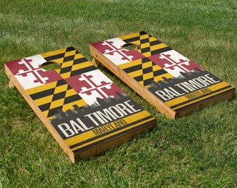 Baltimore State Flag Skyline Cornhole Board Set