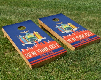 New York City State Flag Skyline Cornhole Board Set