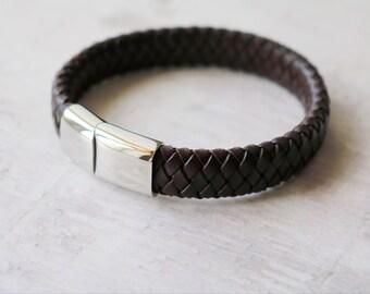 Gift For Men - Men's Personalised Leather Bracelet - Boyfriend Gift - Husband Gift
