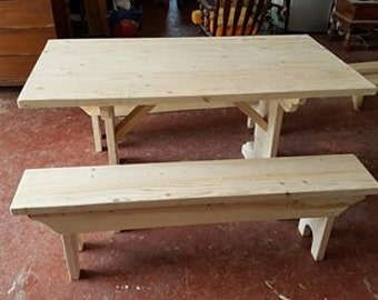 Custom 5 foot Pine Table w/Benches