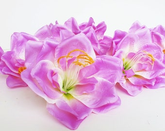"10 Lilies Silk Lily Artificial Flowers Soft Light Purple Yellow 5.5"" Floral Supply Supplies Wedding Hair Accessories Flower Faux"
