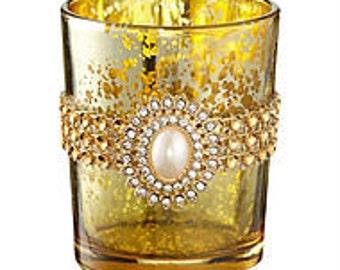 Gold Speckled Tea Light Holder