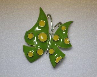 Vintage Butterfly Pin - Lime Green with yellow polka dots  Brooch