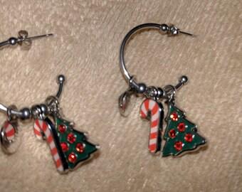 Christmas themed hoop earrings