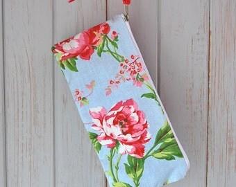 Cotton Flower Zipper Pouch