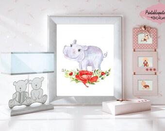 Hippo print, Hippo Art, Hippo nursery, Hippo baby girl, Printable nursery art, Nursery print, Nursery art, Animal Nursery Art, Hippo flower