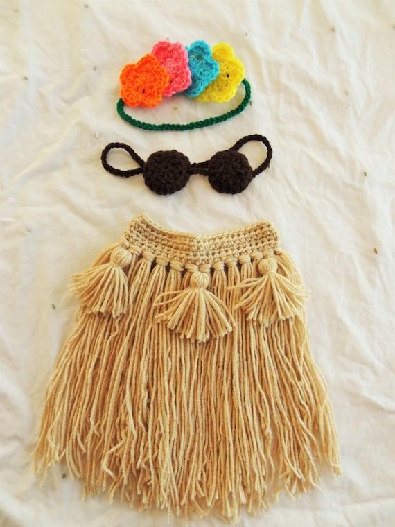 Baby Hula Girl Crochet Set Hawaiian Hula Girl Dancer Outfit