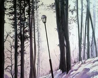 Street lamp in siberian winter park