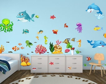 059 wall underwater fish Dolphin shark coral Octopus sea water * nikima * in 6 verse. Sizes