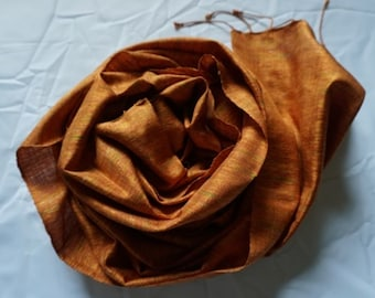 SALE 30% OFF -coupon code THAISILK2017 Premium Thai Silk Scarves - Medium Brown