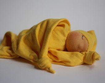 Newborn lovey, baby gift, waldorf inspired, sleeping doll, blanket doll, yellow doll, Fiddlehead Doll