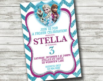 Frozen Birthday Invitation // Disney, Anna, Elsa, Olaf, Sparkle, Glitter, Chevron, Girl