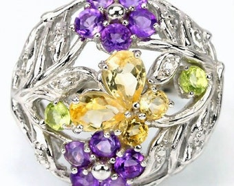 Natural citrine, amethyst, peridot sterling silver ring Size 6.5