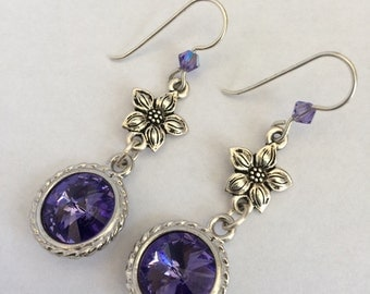 Tanzanite Swarovski Drop Earrings