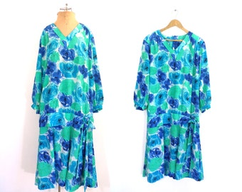 floral day dress size xl | shift dress, drop waist dress, 70s dress, 1970s dress, cropped sleeves, boho dress, blue green dress