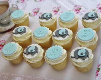 """12 blue and grey baby elephant """"IT'S A BOY"""" fondant cupcake toppers. Baby shower party/gift"""