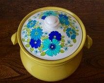 Vintage Retro Green Cookie Jar with Floral Lid