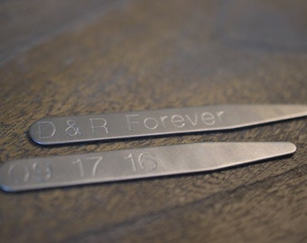 Personalized Collar Stays | Engraved Collar Stays | Shirt Collar Stiffeners | Personalized for Him | Groomsmen Gift | Groom Gift