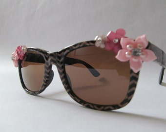 Embellished Sunglasses (Zig zags and pink flowers)